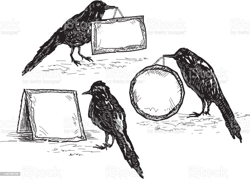 Set of birds holding assorted signs vector art illustration