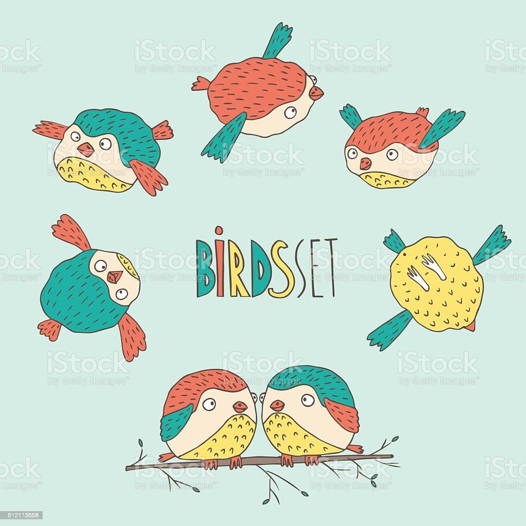 Set of birds vector art illustration