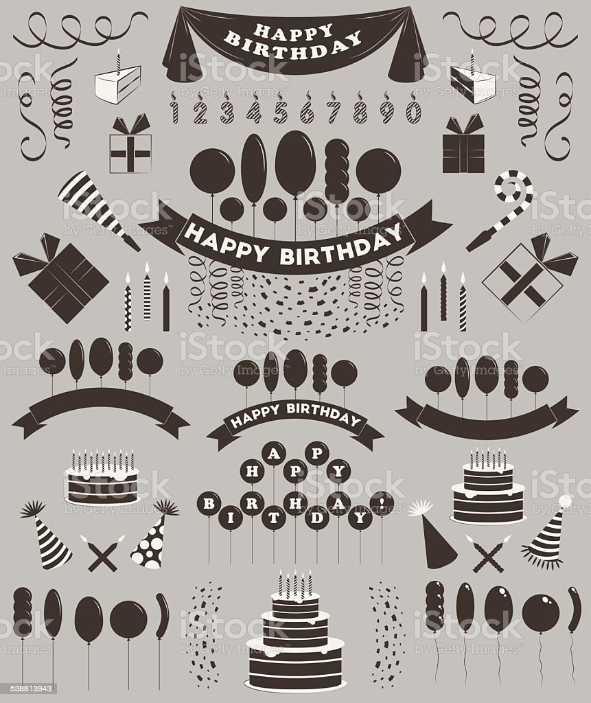 Set of birthday elements and objects. vector art illustration