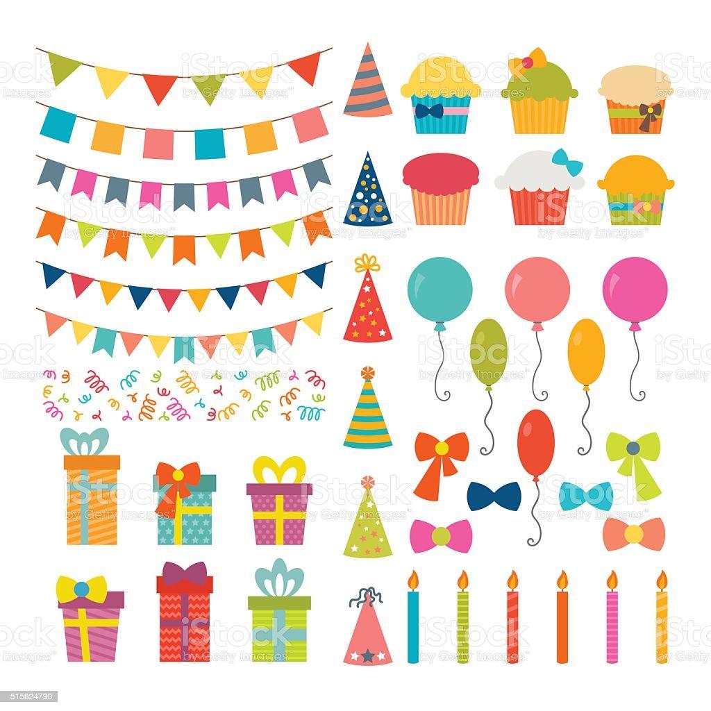 conjunto de fiesta de cumpleaos diseo elementos colorido globos banderas libre de