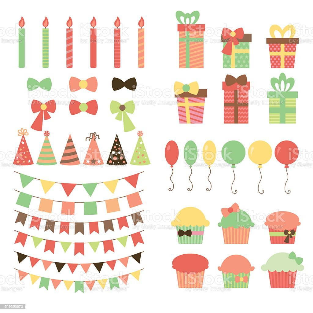 Set of birthday party design elements. Colorful balloons, flags, vector art illustration