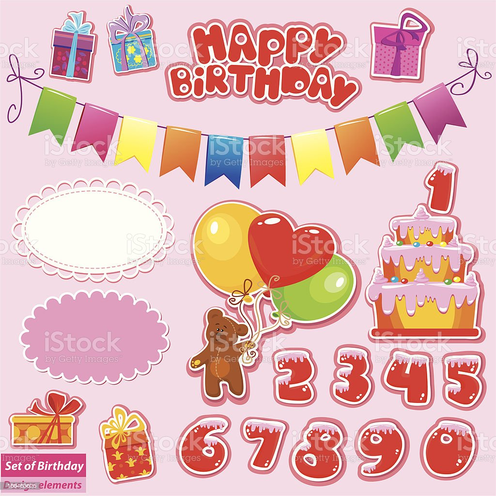 Set of Birthday Party Elements royalty-free stock vector art