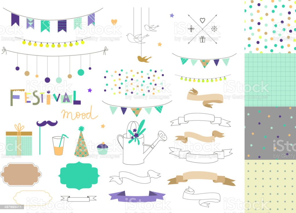 Set of birthday party elements. Vector. Isolated. vector art illustration