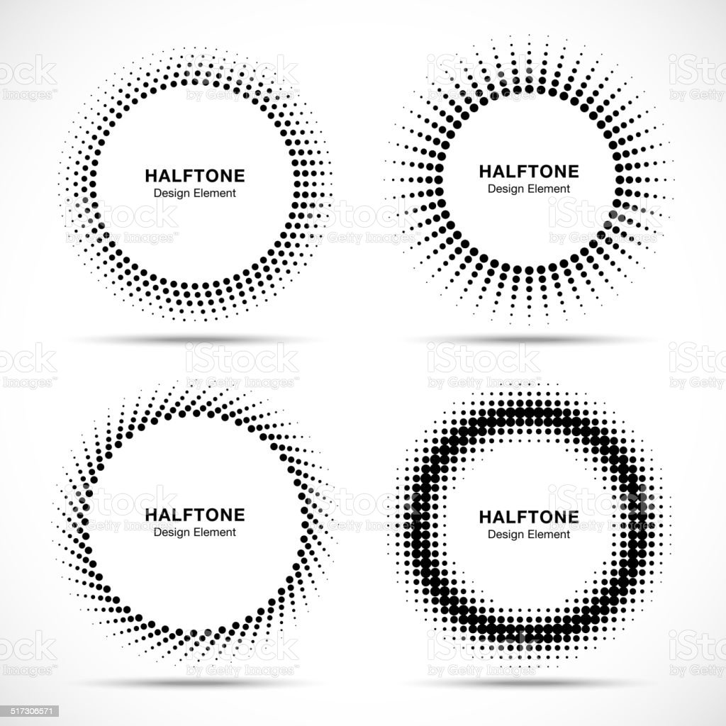 Set of Black Abstract Halftone Circles Logo vector art illustration
