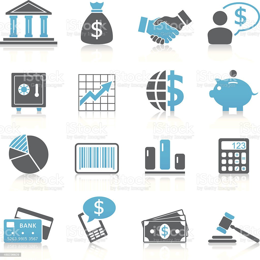 Set of black and blue finance icons royalty-free stock vector art