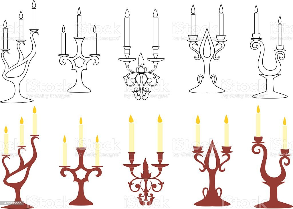 set of black and brown candelabras vector art illustration