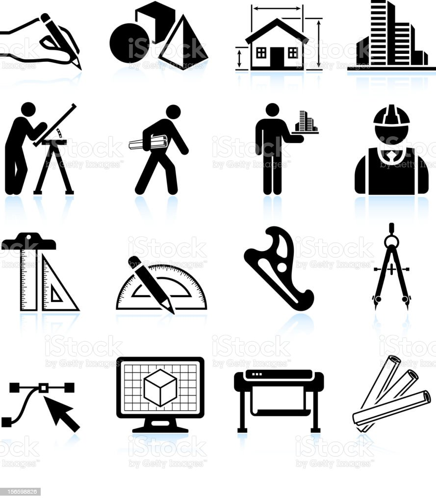 Set of black and white architecture icons vector art illustration