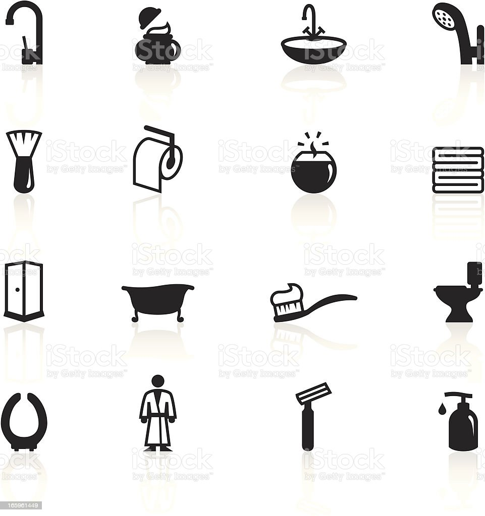 Set of black and white bathroom icons vector art illustration