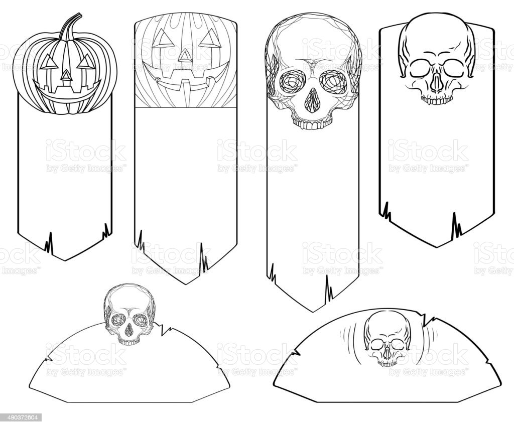 Set of black and white doodle banners with skulls vector art illustration