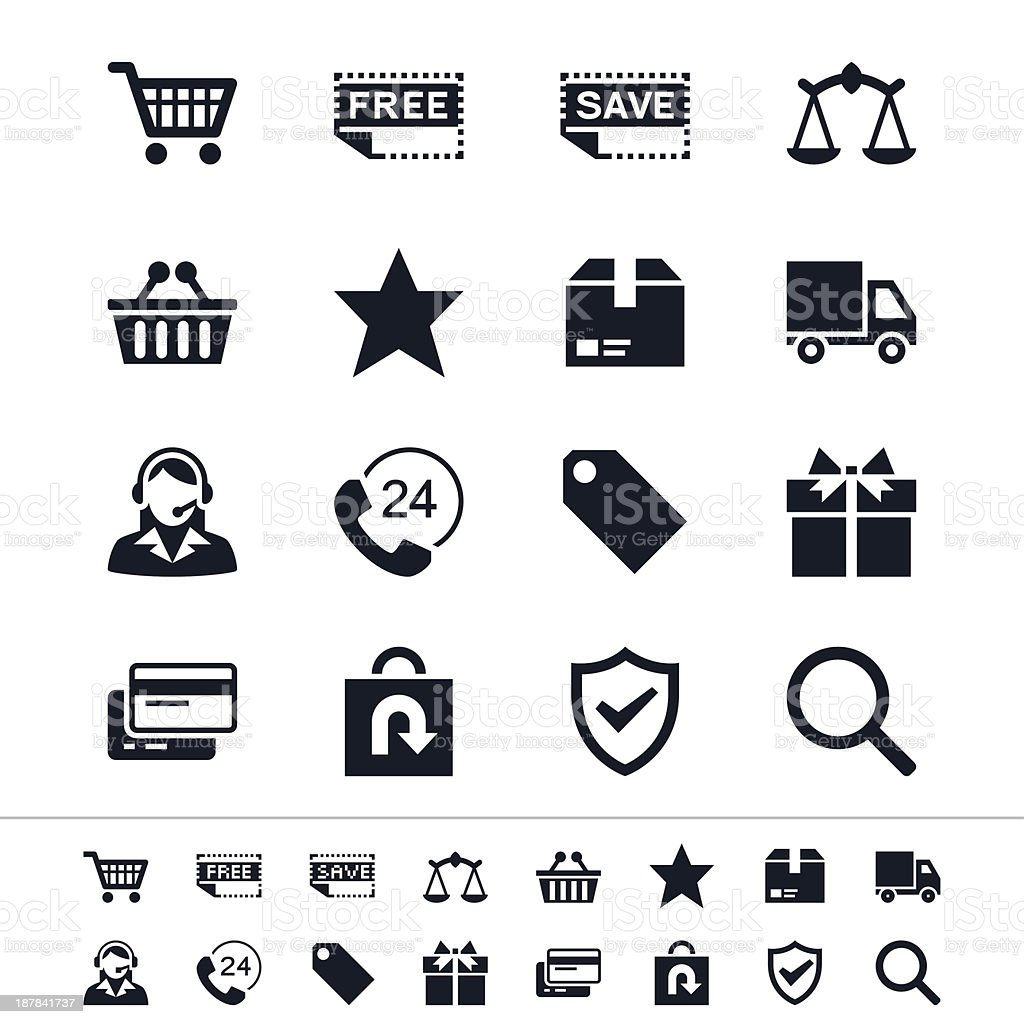 Set of black and white e-commerce graphic icons in two sizes royalty-free stock vector art