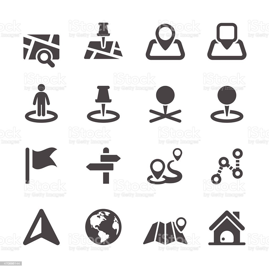 Set of black and white icons depicting location items vector art illustration