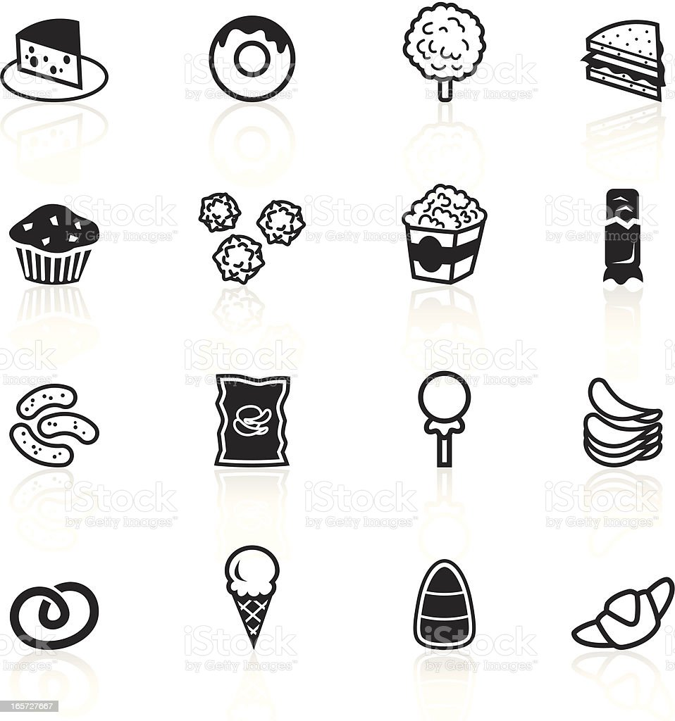 Set of black and white junk food icons vector art illustration