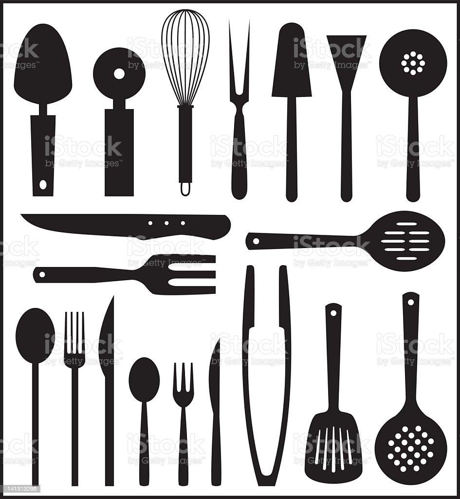 Set of black and white kitchen utensils vector art illustration