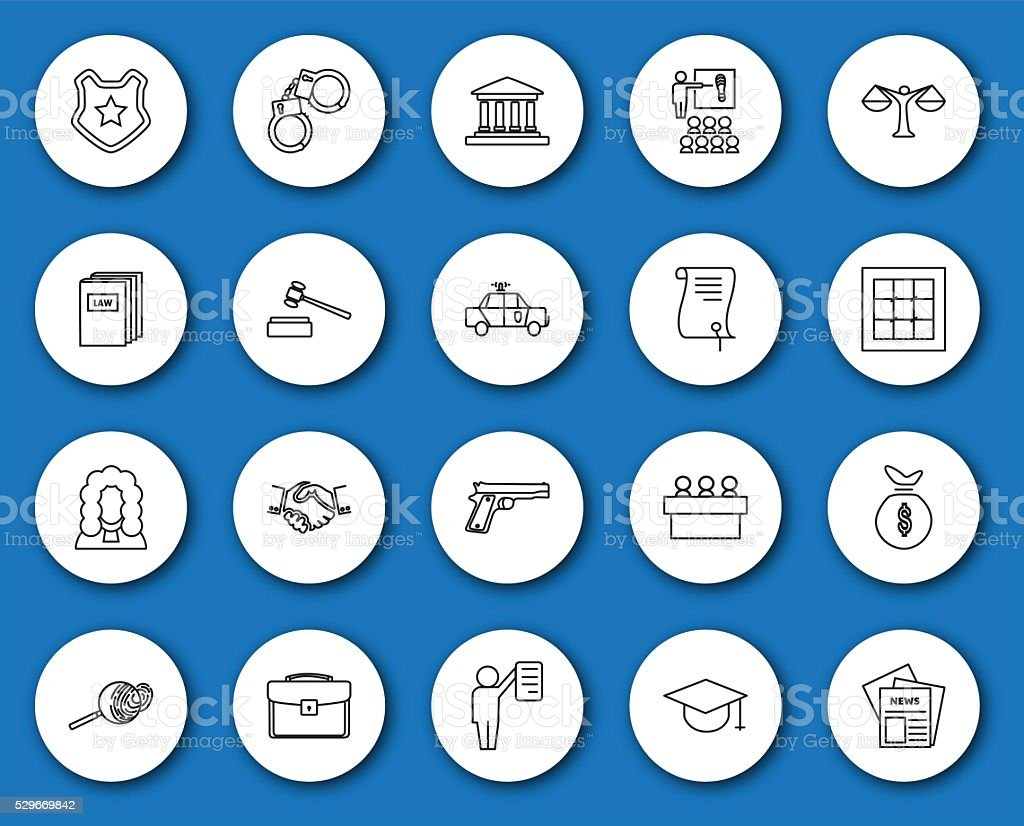 Set of black and white law and justice icons vector art illustration