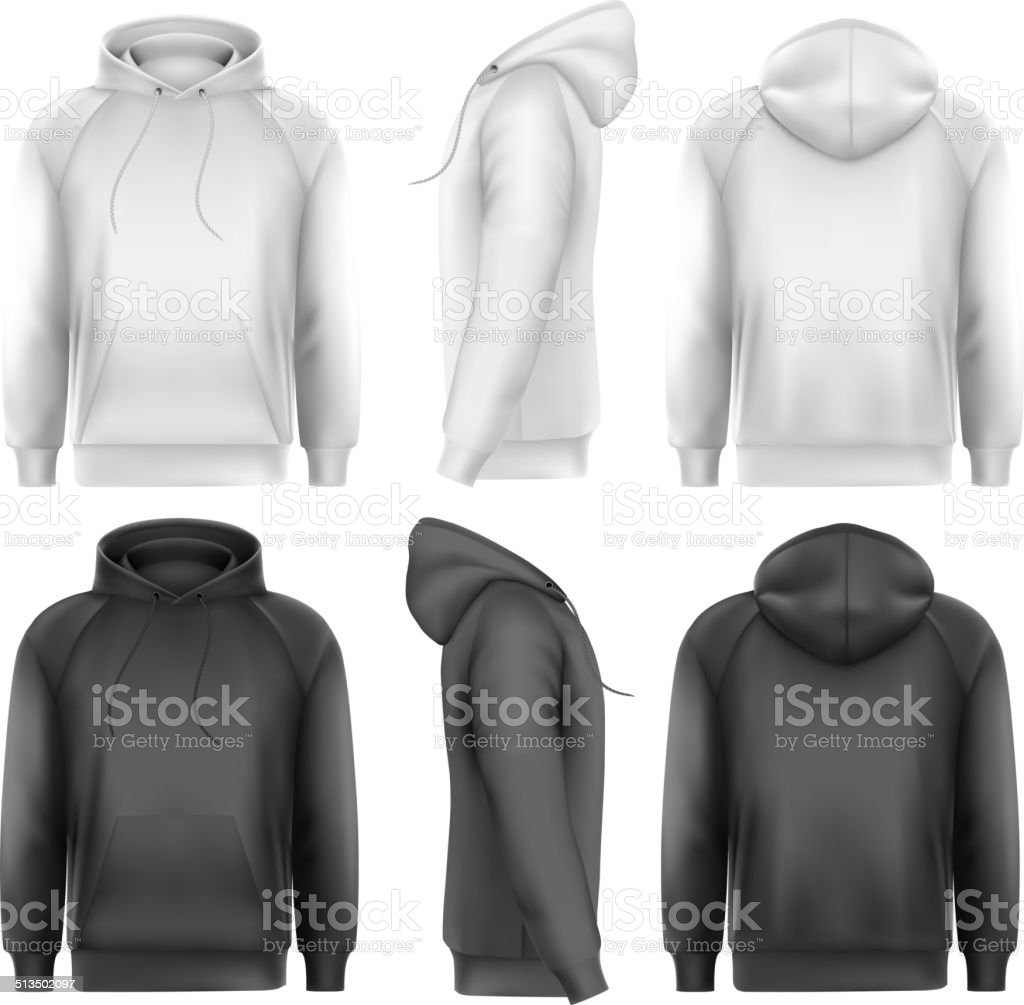 Set of black and white male hoodies vector art illustration