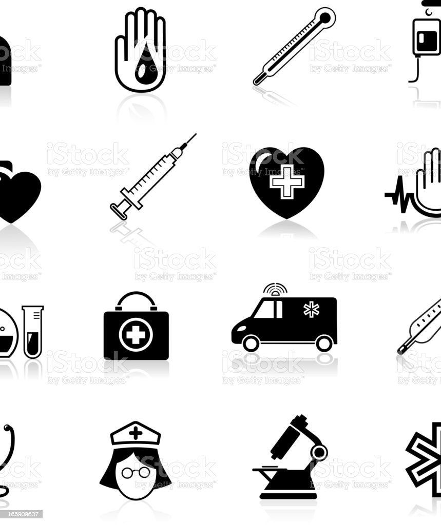 Set of black and white medical themed icons vector art illustration