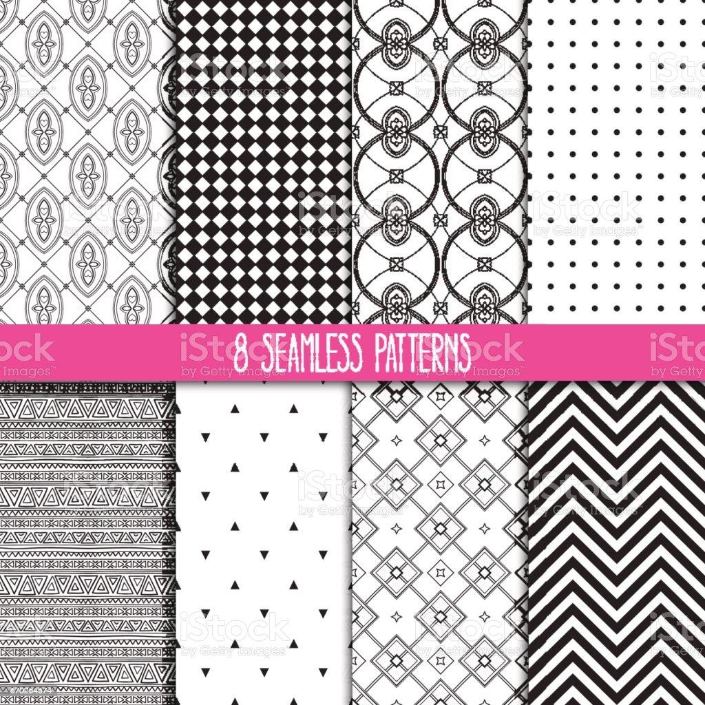 set of black and white patterns vector art illustration