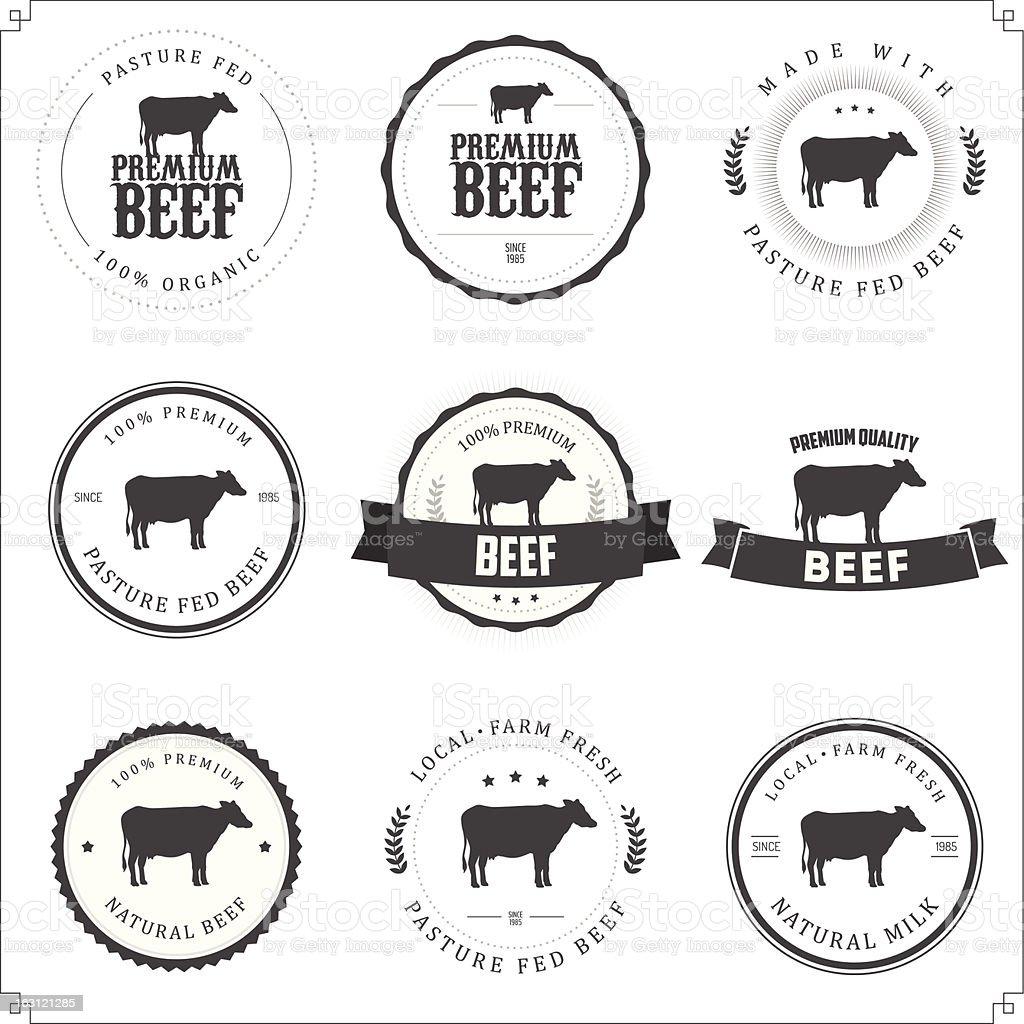 Set of black and white premium beef labels vector art illustration