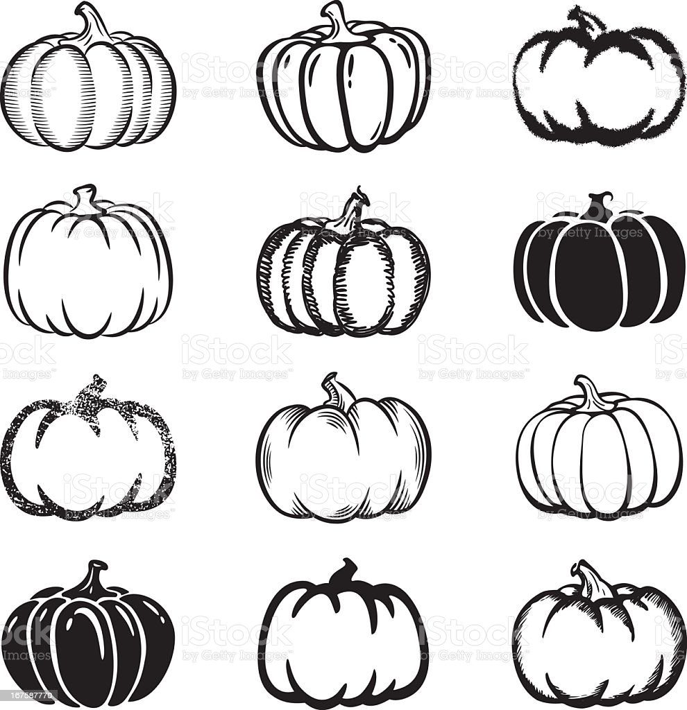 Set of black and white pumpkin icons on white background vector art illustration