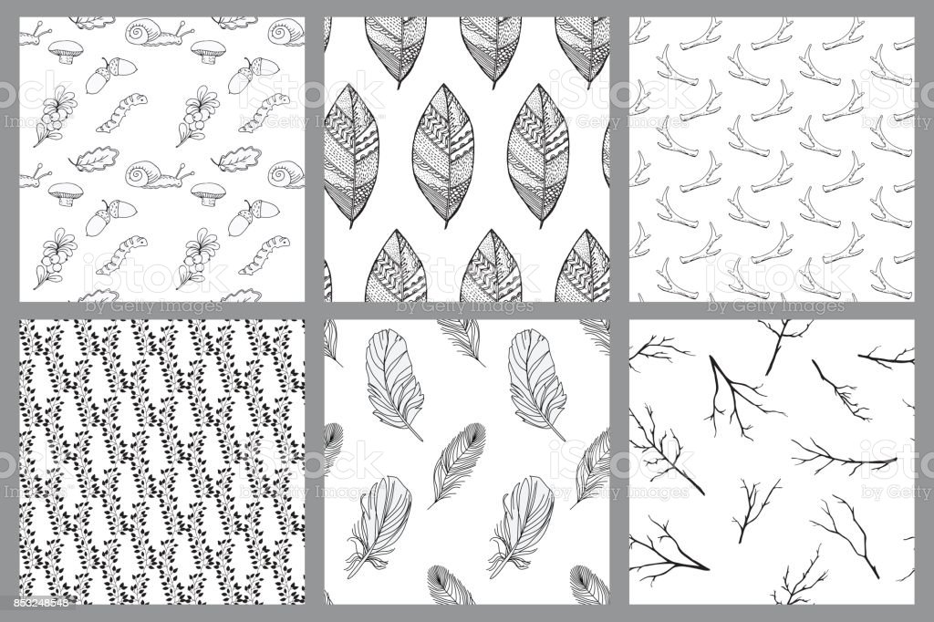 set of black and white seamless patterns with painted wood elements vector art illustration