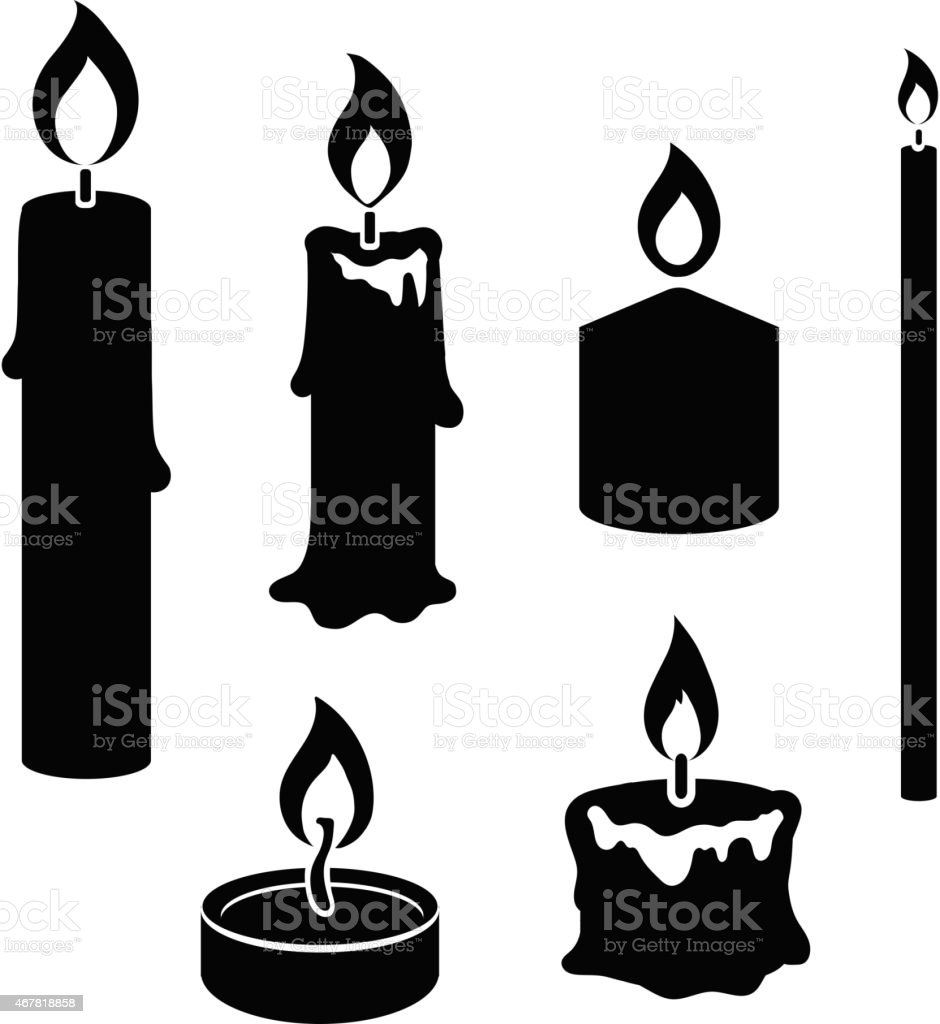 Set of black and white silhouette burning candles vector art illustration