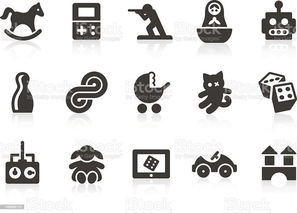 Set of black and white toy icons vector art illustration
