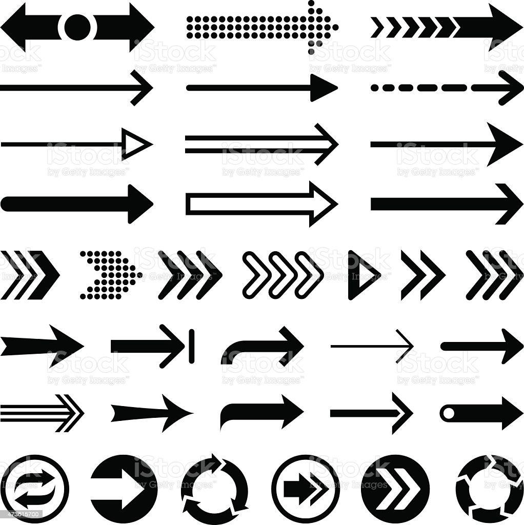 Set of black arrow designs on a white background vector art illustration