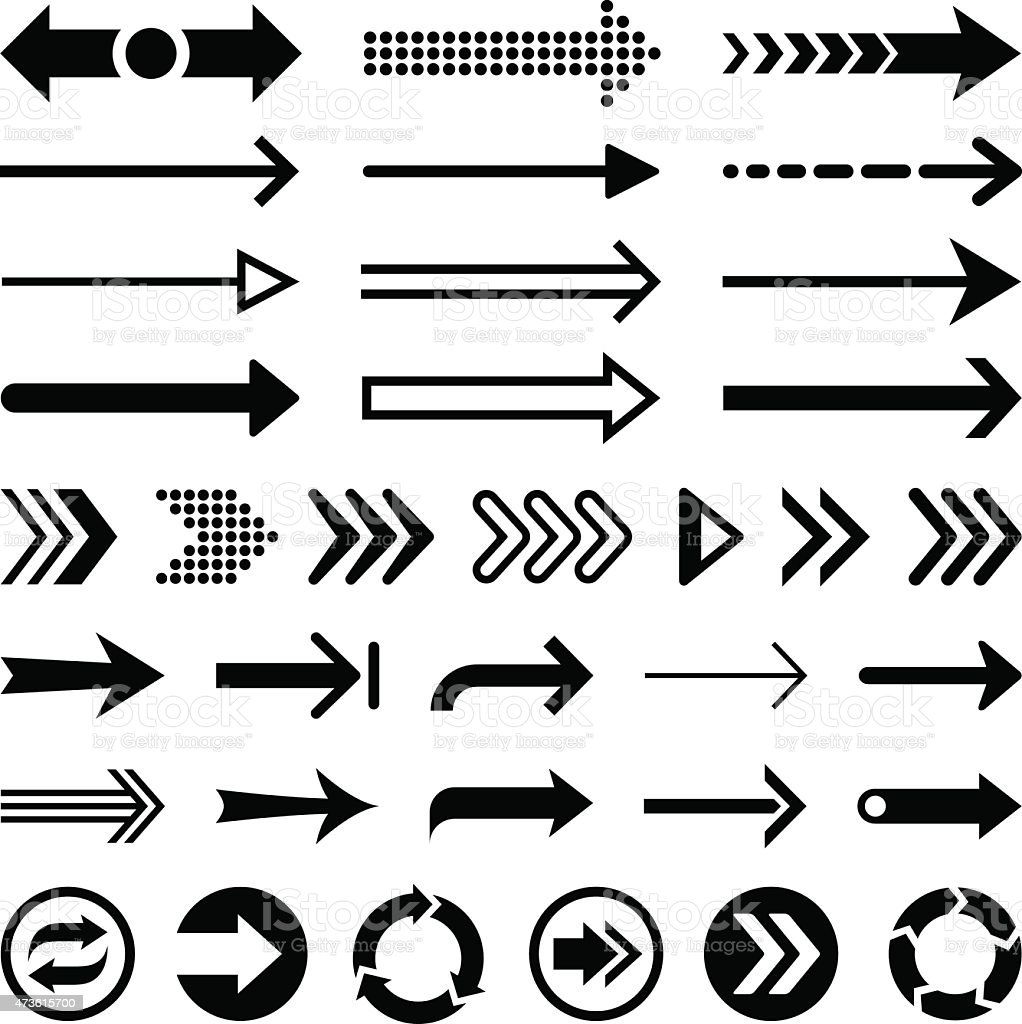 Set of black arrow designs on a white background vector art illustration