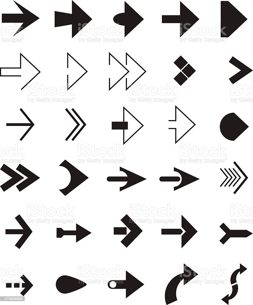 Set of black arrows vector art illustration