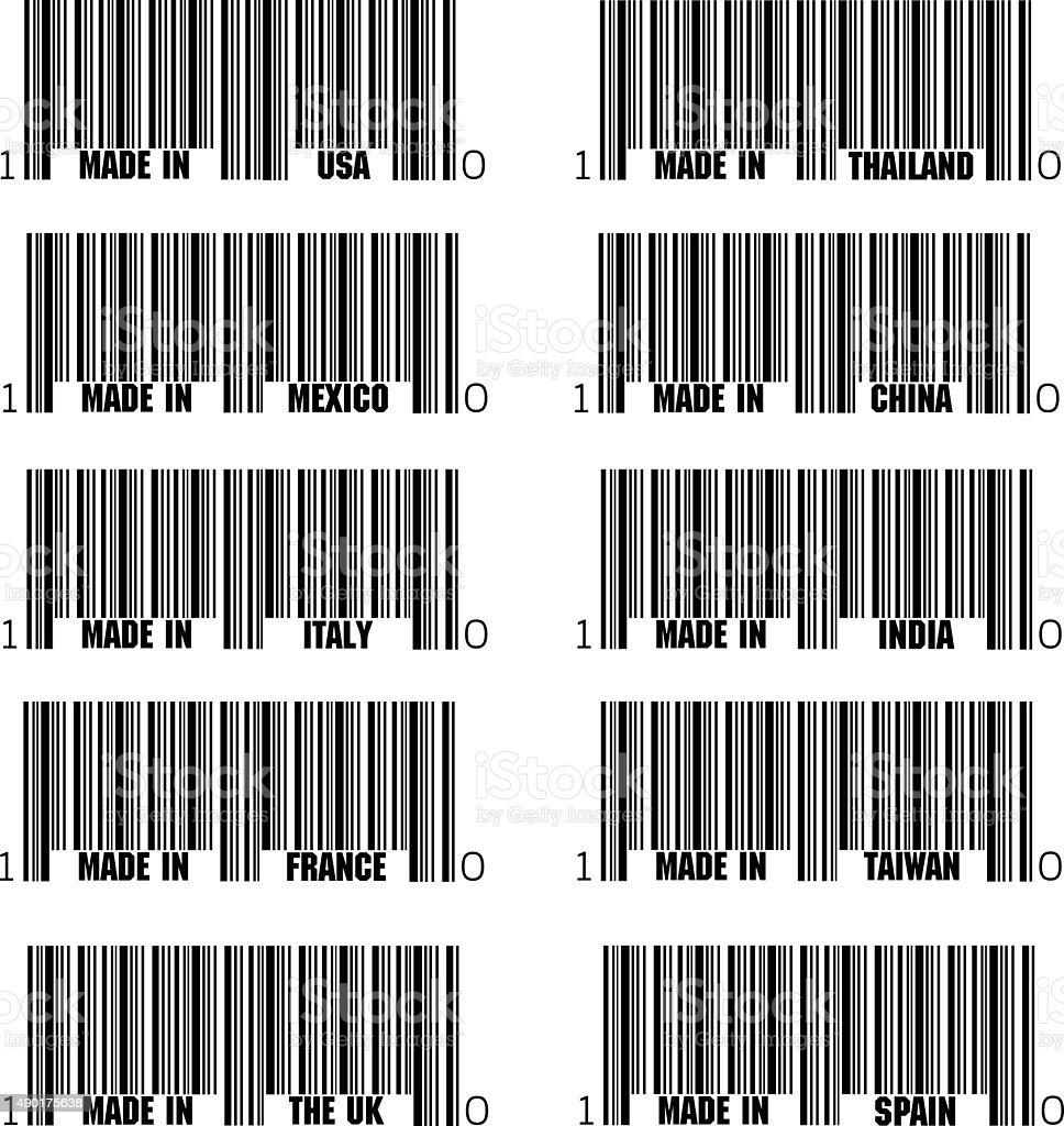Set of black barcode of Made In symbols, vector art illustration