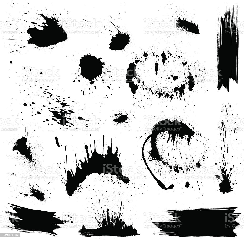 Set of black blots and ink splashes. vector art illustration