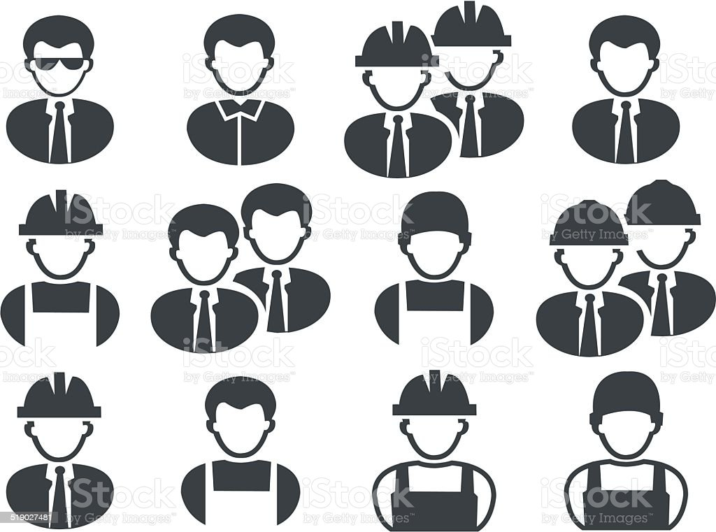 set of black buildings men ikons vector art illustration