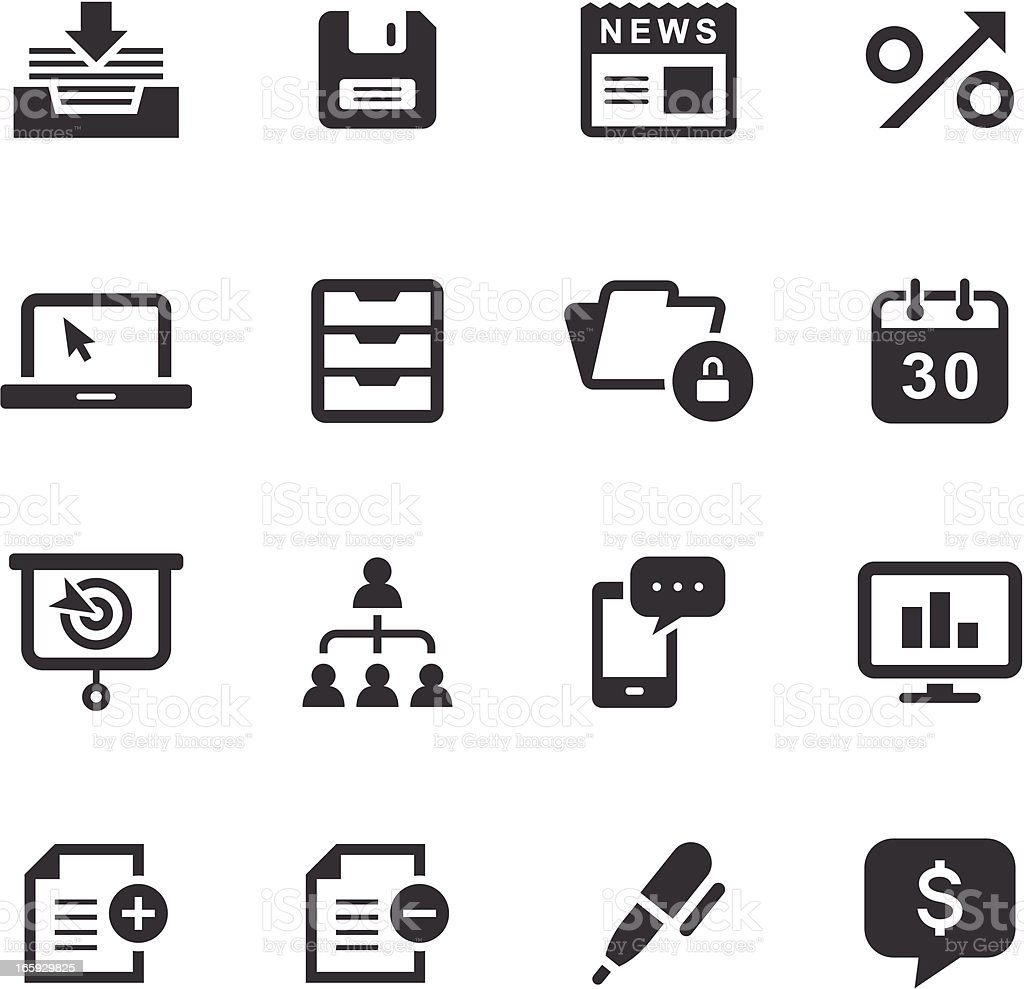 Set of black business and office icons on white background vector art illustration