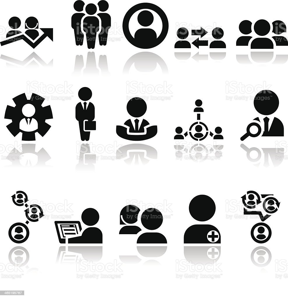 Set of black business-related icons vector art illustration