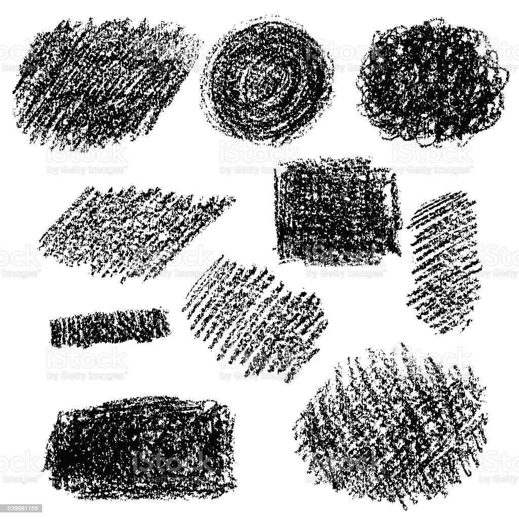 Set of black chalk texture. vector art illustration