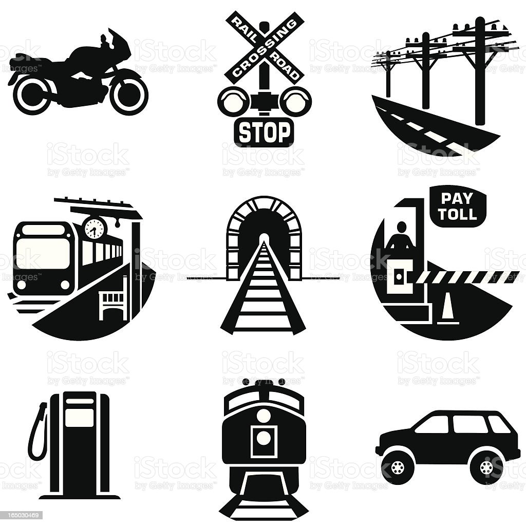 Set of black commuting and transportation icons vector art illustration