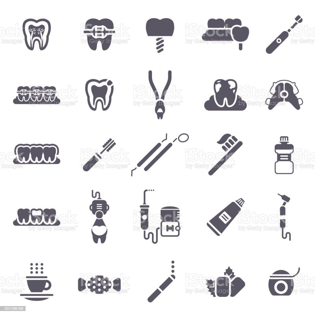Set of Black Dental Icons Isolated on White. vector art illustration