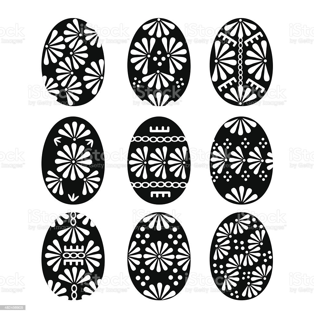 Set of Black Easter Eggs with Patterns royalty-free stock vector art