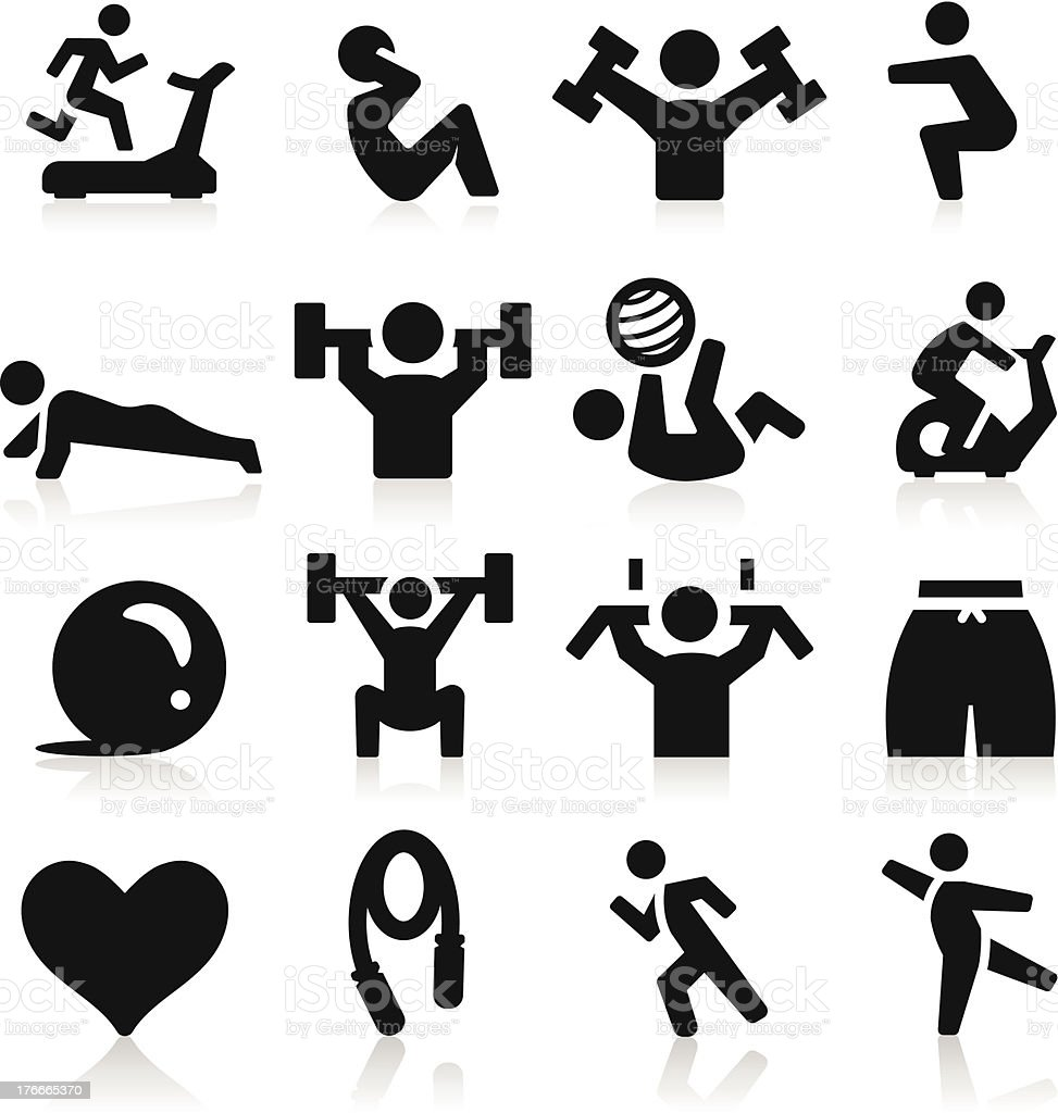 A set of black exercising icons vector art illustration