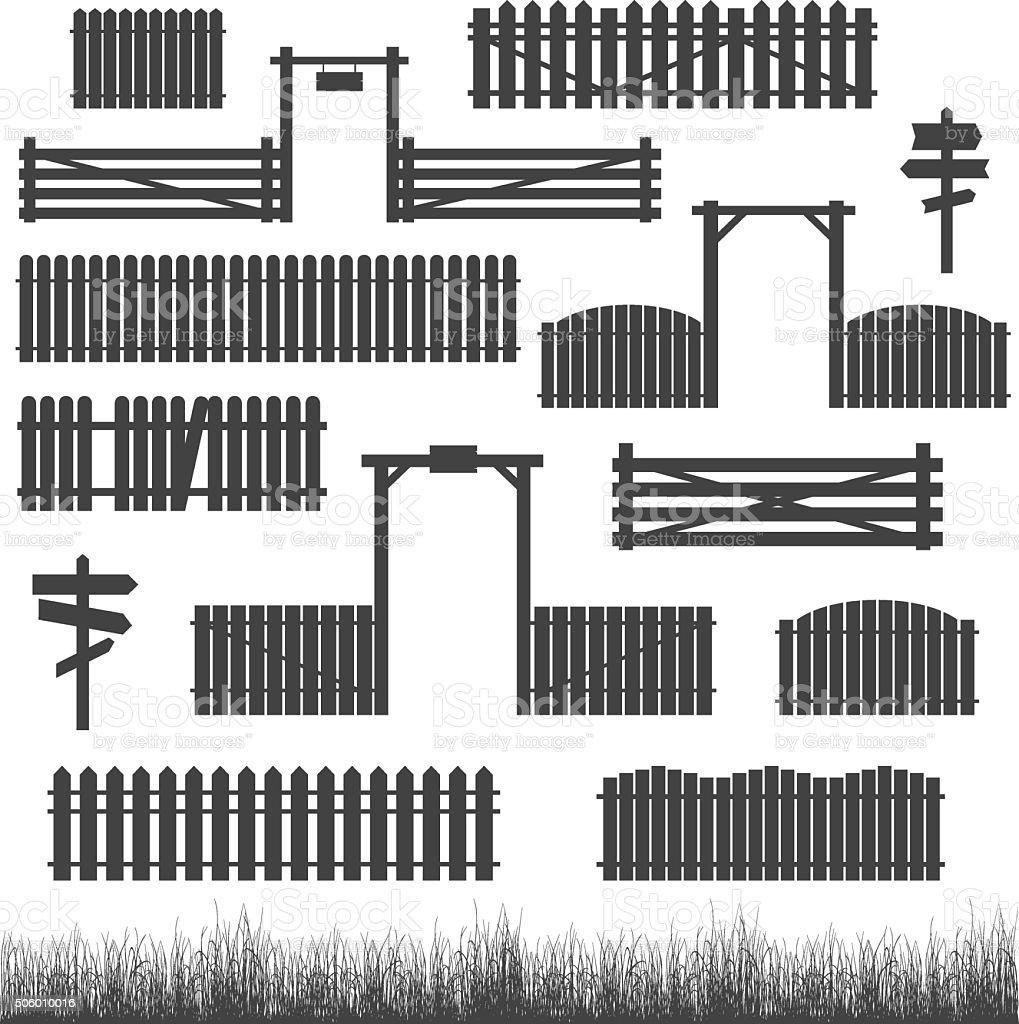 Set of black fences with gates vector art illustration