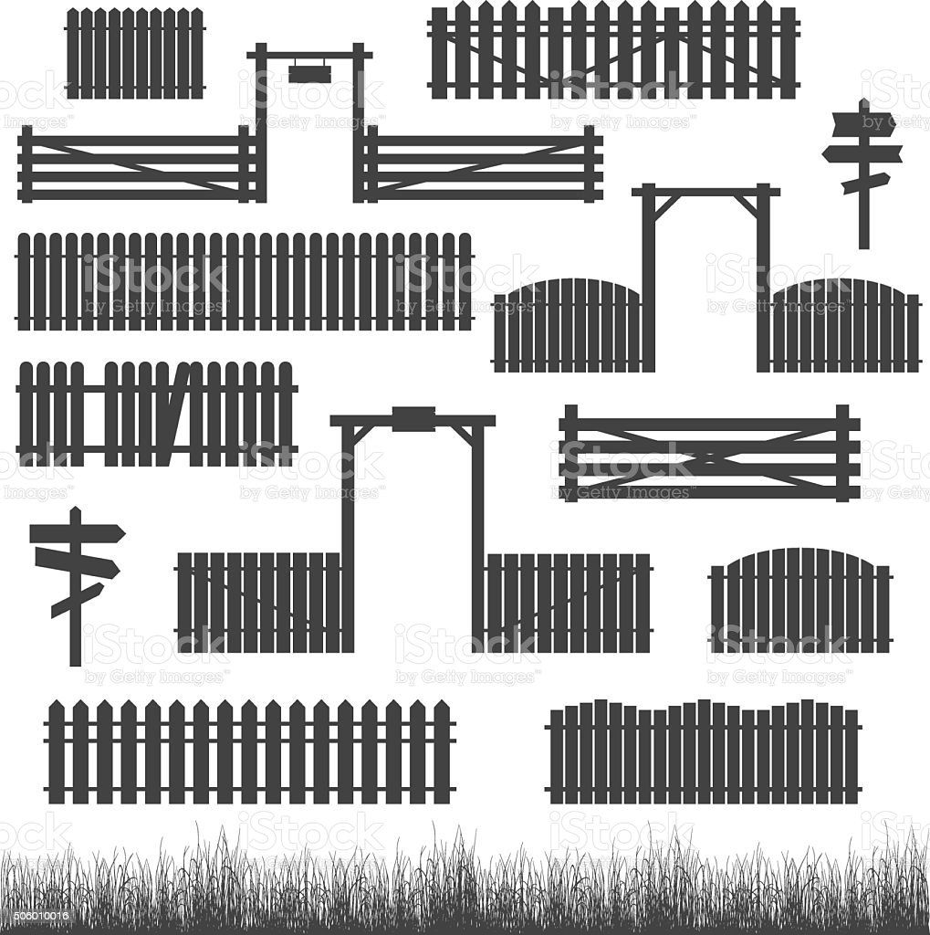 Set of black fences with gates vector art illustration