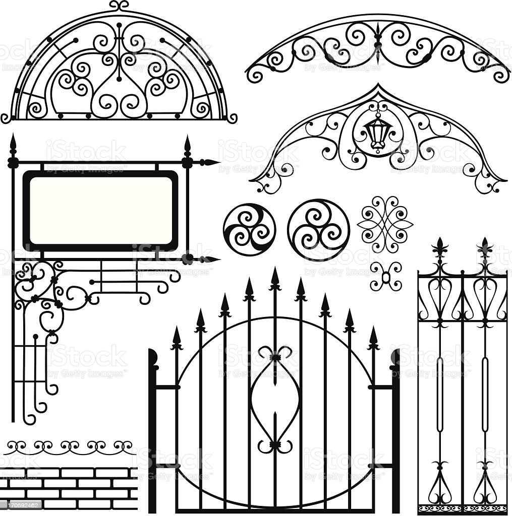 Set of black forged metal gates and other elements vector art illustration