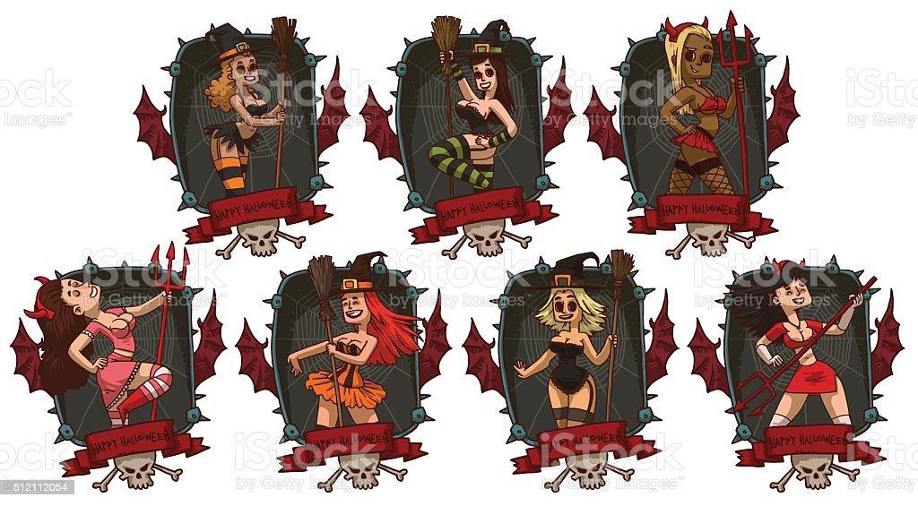 Set of black frames with girls in Halloween costumes vector art illustration