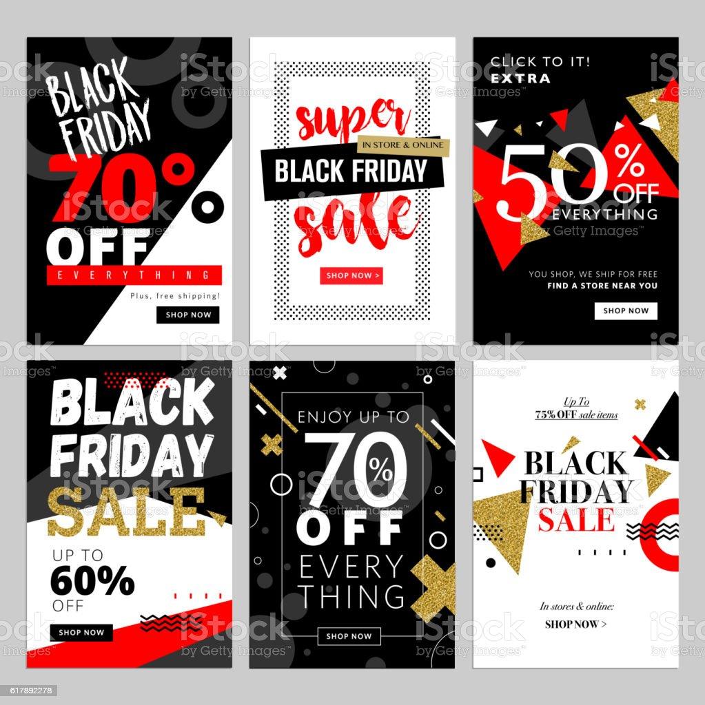 Set of Black Friday mobile sale banners vector art illustration