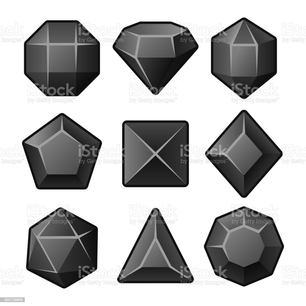Set of Black Gems for Match3 Games. Vector royalty-free stock vector art
