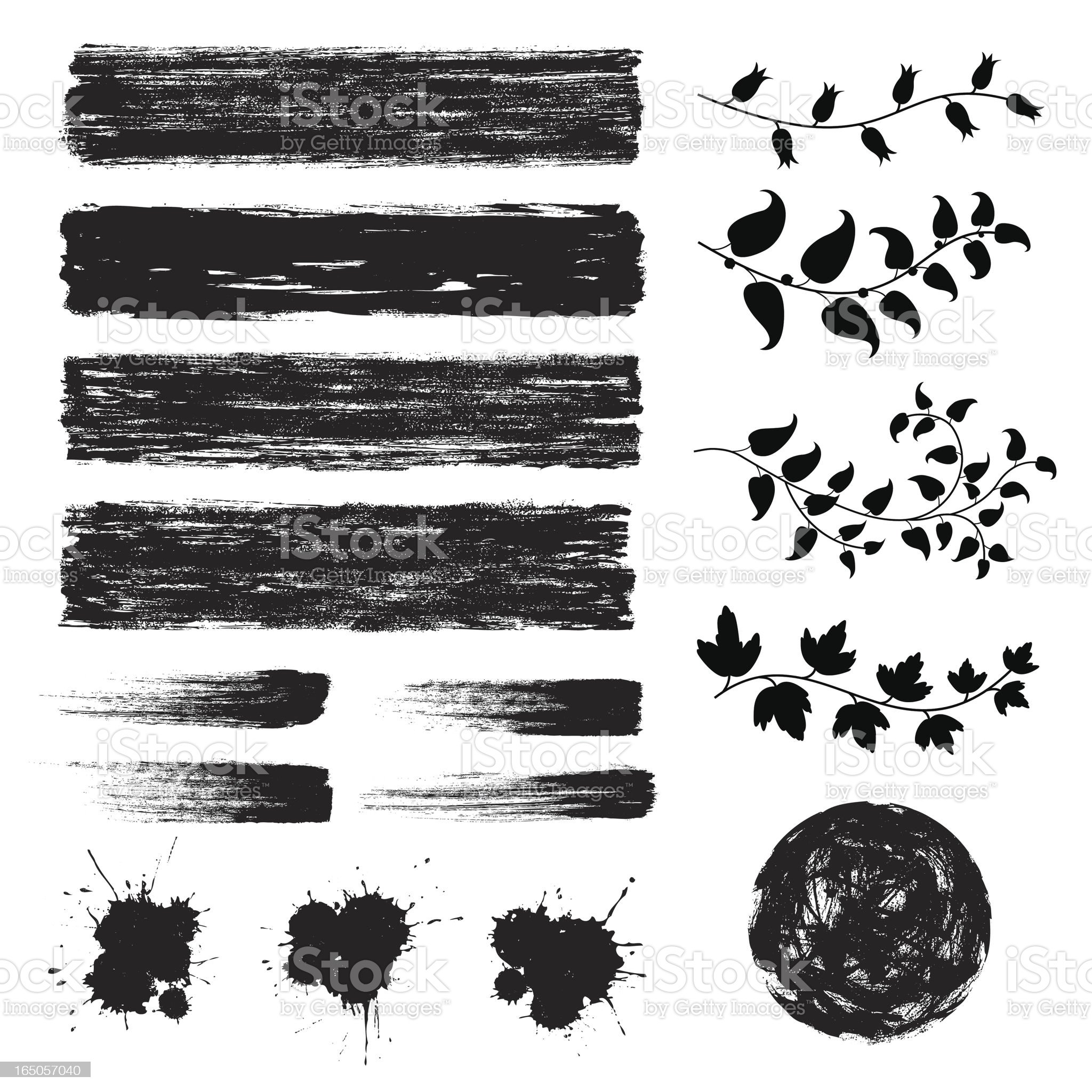 Set of black grunge design elements royalty-free stock vector art