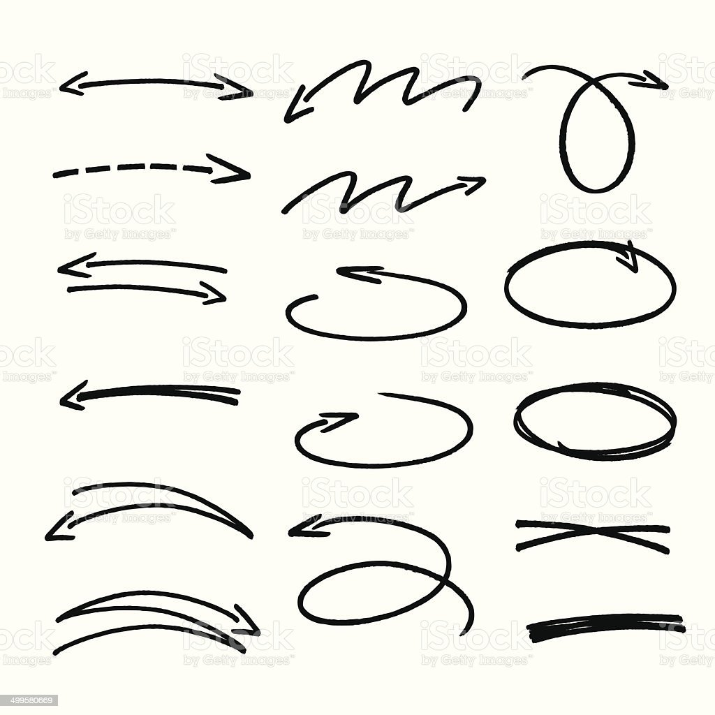 set of black hand drawn arrows signs and highlighting elements vector art illustration