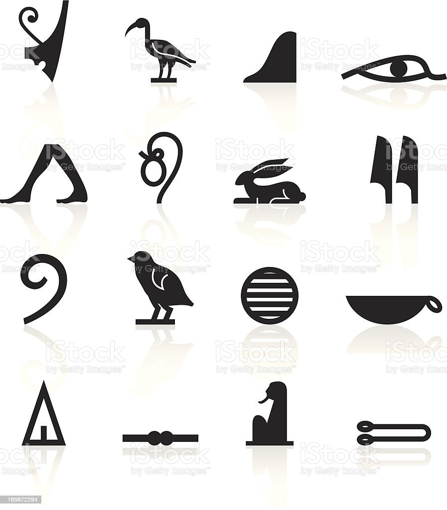 Set of black hieroglyphics symbols with shadows on white vector art illustration