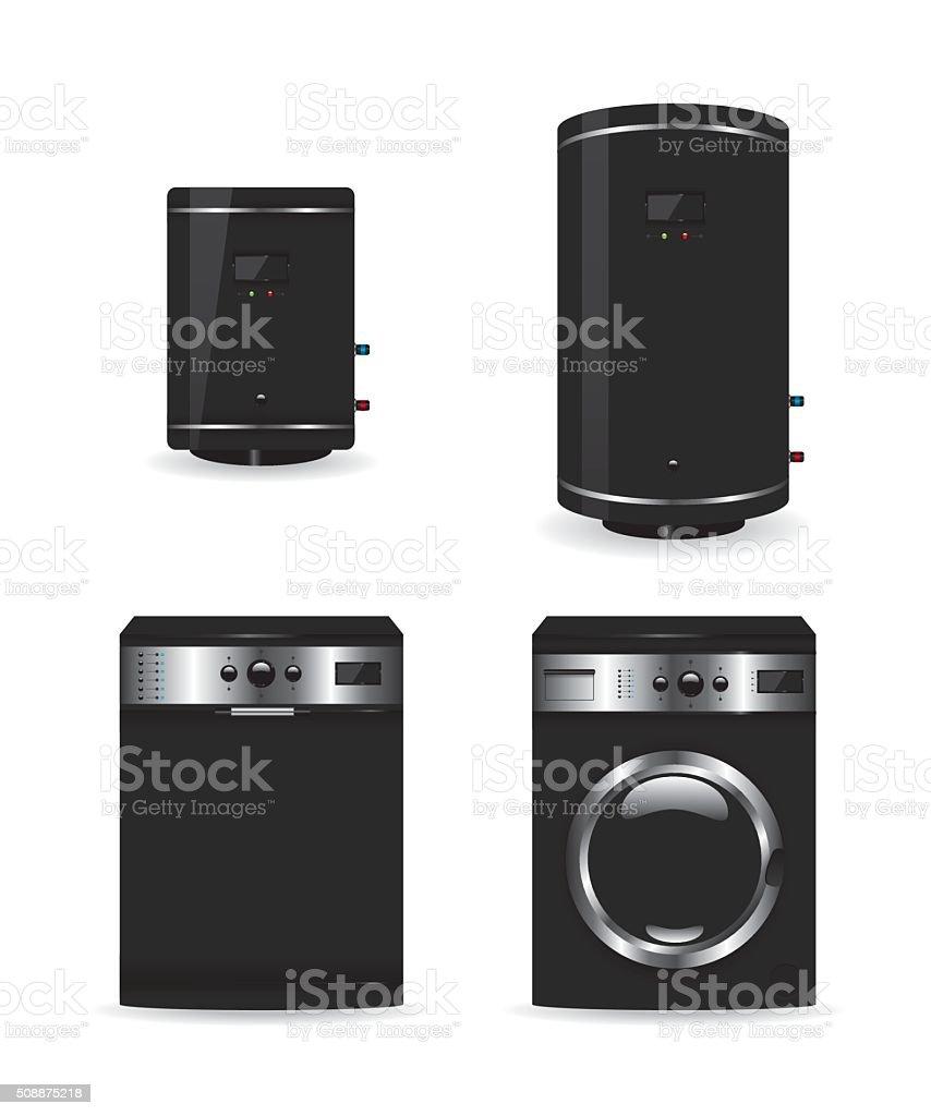 Set of black household appliances  boiler and washing machine vector art illustration