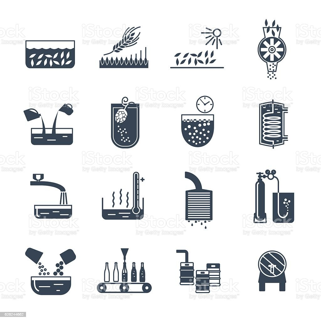 set of black icons manufacture of beer production process vector art illustration